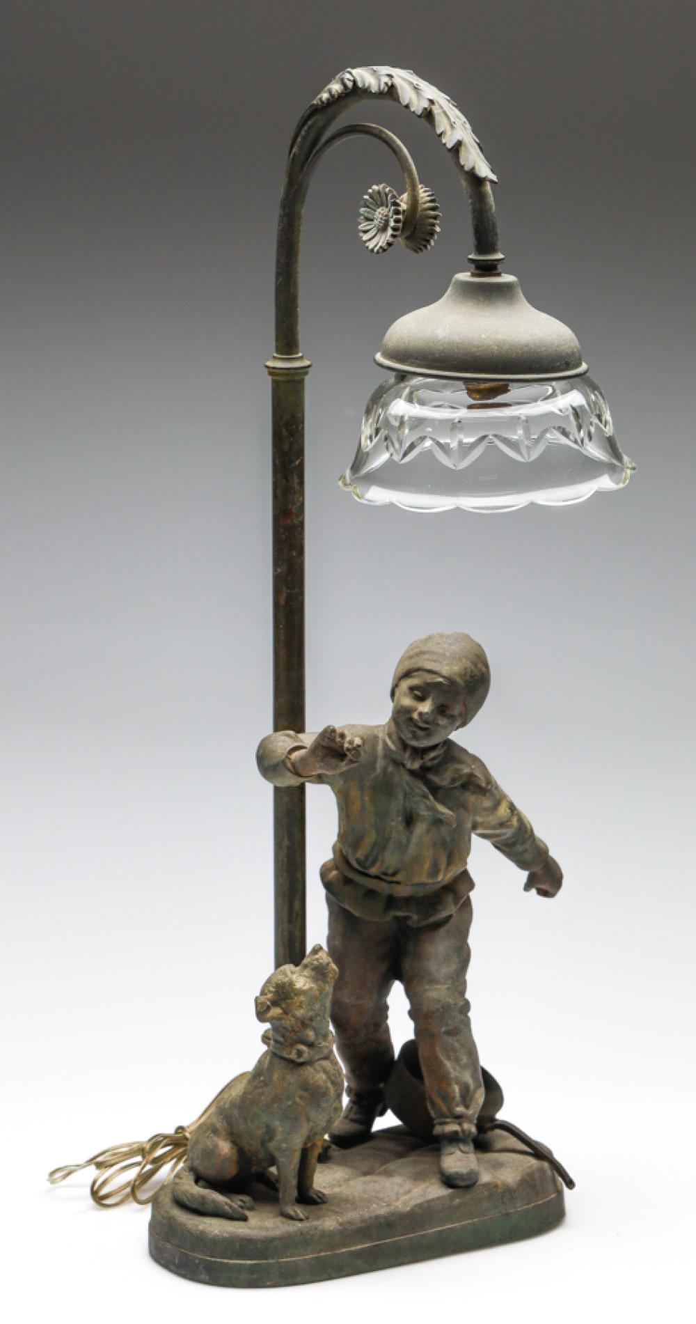 A Figural French Spelter Lamp of a Boy and Dog with Cut Glass Shade (H:50cm)