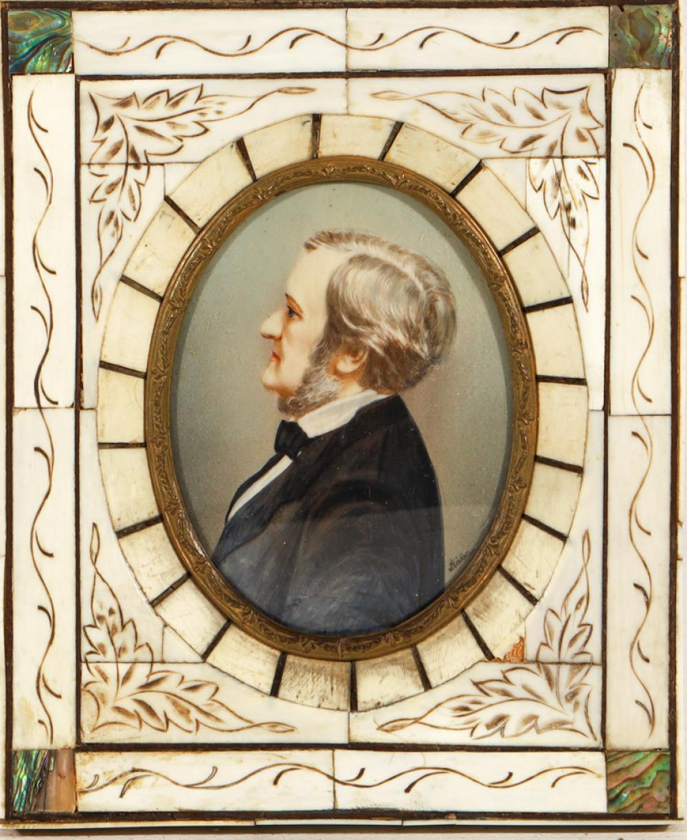 An Antique Miniature Portrait of Richard Wagner in an Engraved Ivory and Paua Shell Frame, Signed 'J. Stieler' (15cm x 12.5cm)
