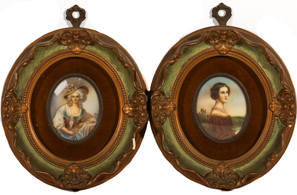 A Pair of Mid Century Italian Portrait Miniatures of Ladies in Gilt and Velvet Lined Oval Frames (9cm x 7cm - Image Size)
