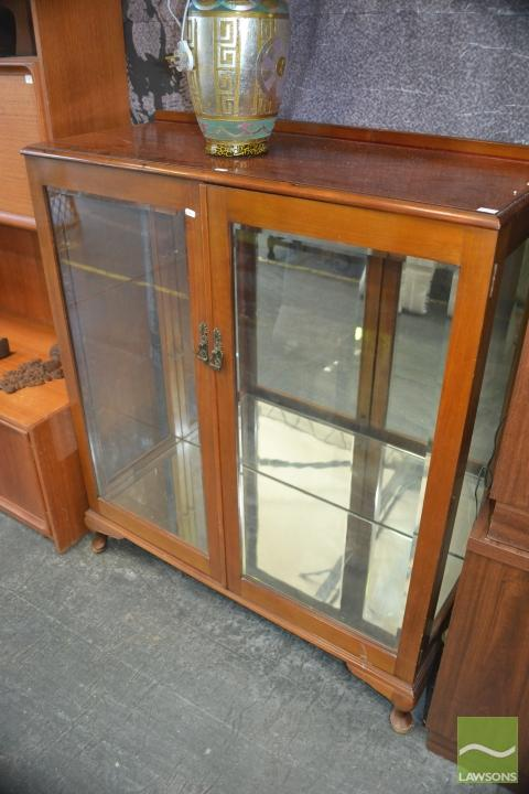 Display Cabinet W Bevel Glass Doors Mirrored Back