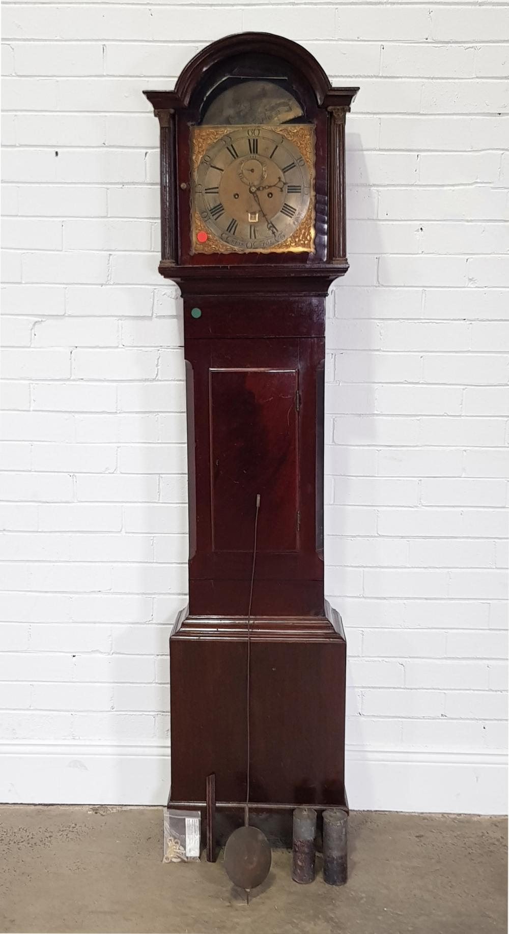 George III Mahogany Longcase Clock, having a two-train movement with subsidiary date & seconds (untested), having a brass arched top...