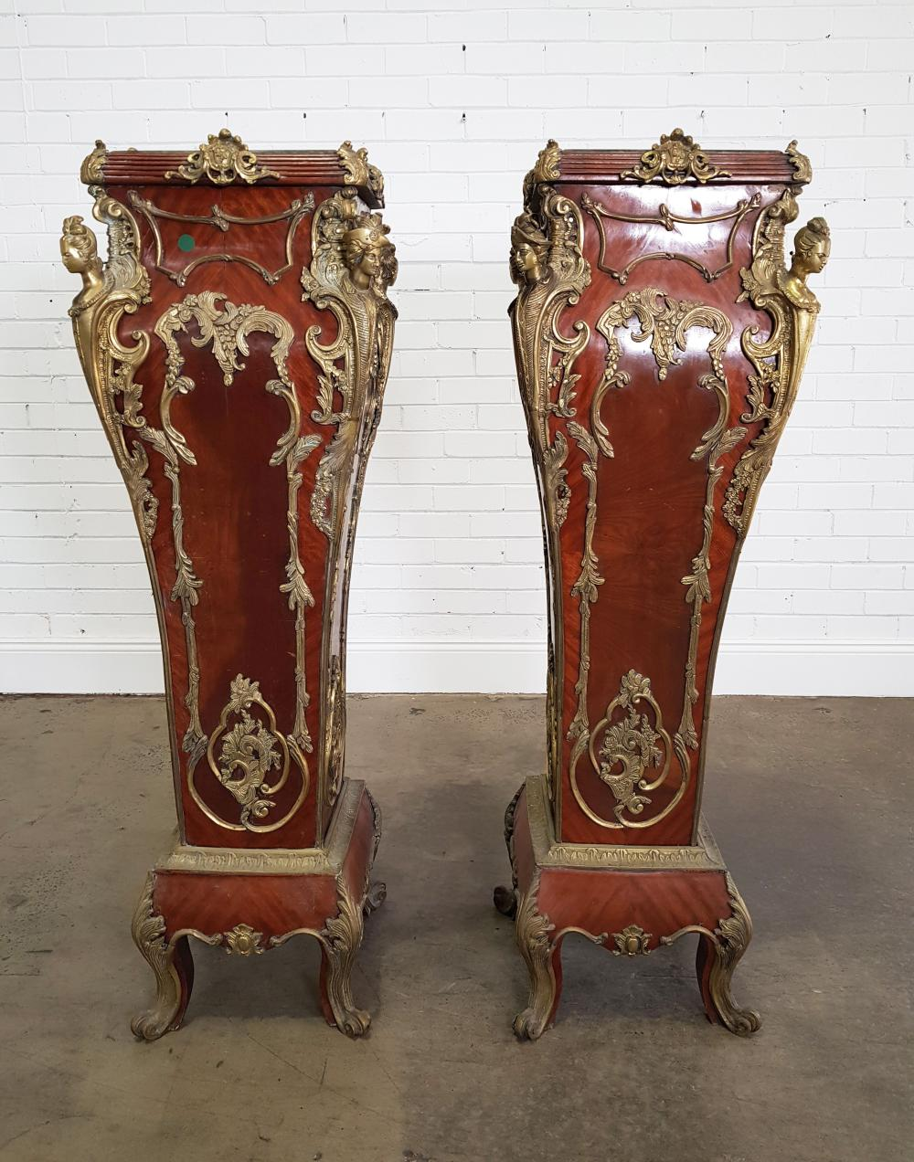 Good Pair of Tall French Style Veneered Pedestals, of bombe form with elaborate brass mounts including caryatids, green marble tops...
