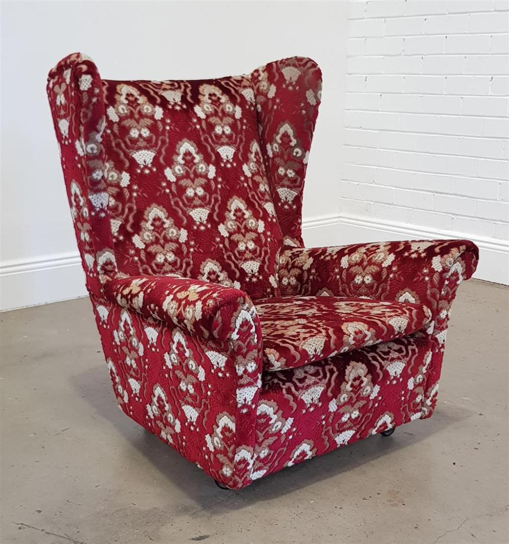 Fabric wing back armchair (h:96 x w:86cm)