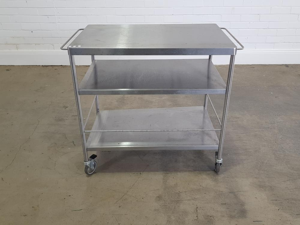 Stainless steel trolley (h86 x w100 x d57cm)
