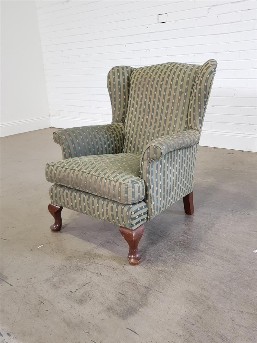 Fabric upholstered wingback armchair (h90 x w74 x d82cm)