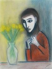 Robert Dickerson (1924 - 2015) - Girl with Flowers 74.5 x 55.5cm
