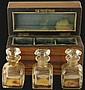 Fruitwood Cased Set of 3 Glass Perfume Bottles