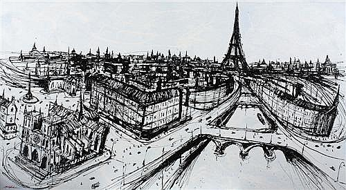 MARK HANHAM (born 1978) - Powder Blue (Paris Scene) 147.0 x 268.5 cm