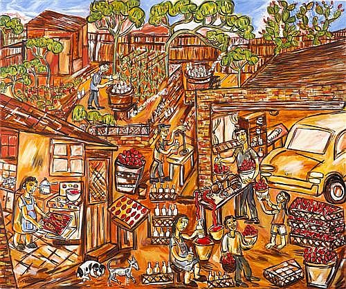 PASQUALE GIARDINO (born 1961) - The Tomato Makers 153.0 x 183.0 cm