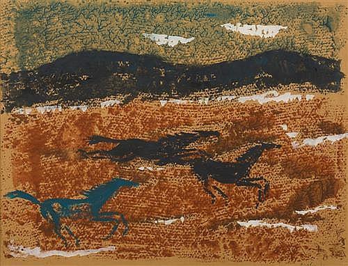 JON MOLVIG (1923-1970) - Running Horses 1955 48.0 x 62.0 cm