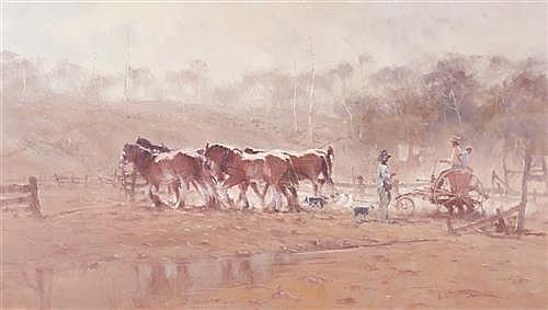 ROBERT HAGAN (born 1947) - Draught Horses 120.5 x 212.5 cm