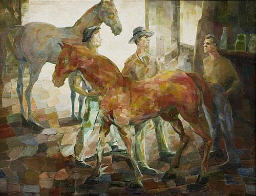 GEORGE DUNCAN (1904-1974) - The Stablemates 71.0 x 91.0 cm