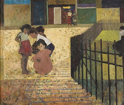 JOHN RIGBY (born 1922) - Children Playing 90.0 x 108.0 cm