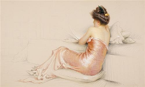 GASTON BOUY (1866-1943) - Lady in a Pink Dress