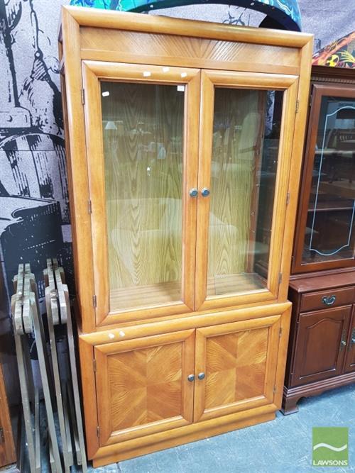 Vintage Glass Front Display Cabinet Over Cupboard Base
