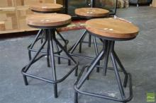 Set of Four Timber Top Swivel Stools on Black Metal Square Base