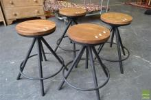 Set of Four Timber Top Swivel Stools on Black Metal Round Base