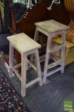Two Whitewash Rustic Indian Stools