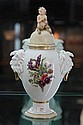Early 20th Century Royal Copenhagen Faun Vase with Hand Coloured Flowers cover Restored