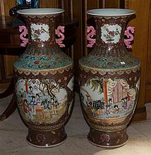 Pair of Large Famille Rose Floor Vases