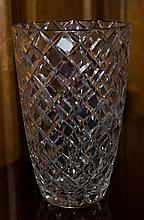 An impressive large Art Deco hand cut lead crystal vase measuring 250 x 160 x 160mm