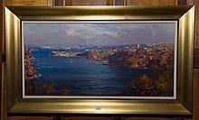 Ken Knight (1956 -) - Sydney Harbour From Mosman 39 x 78cm