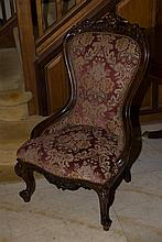 Well upholstered Victorian ladies chair