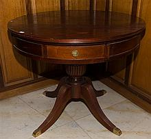 A pair of Mahogany Regency design Drum Tables each with 4 drawers raised on a central column with 4 brass capped reeded sabre legs....