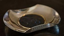 A heavy BVLGARI sterling silver dish, set to the centre with a Cameo glass portrait, inscribed to the base
