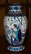 A large French Art Deco Cloisonne vase H:390