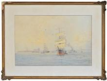 Fred Elliot (1864 - 1949) - Untitled (Ships in Harbour) 35.5 x 55.5cm