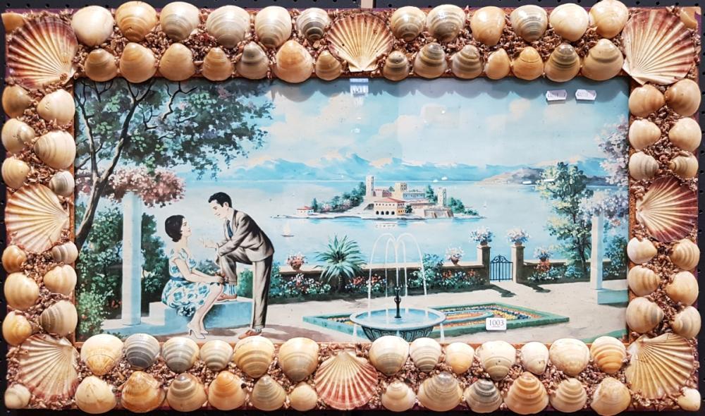 Vintage Mediterraini Print in Shell Frame