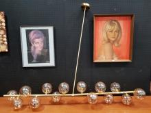 Lot 1006: Lucci Brass and Blown Glass 14 Shade Hanging Light Fitting