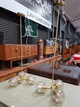 Lot 1008: Pair of Lucci Brass and Blown Glass 3 Shade Hanging Light Fitting