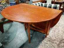 Lot 1016: McIntosh Teak Drop Leaf Dining Table with Rounded Ends