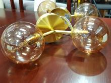 Lot 1017: Lucci Set of 4 Brass wall Sconce with Twin Blown Glass Shades