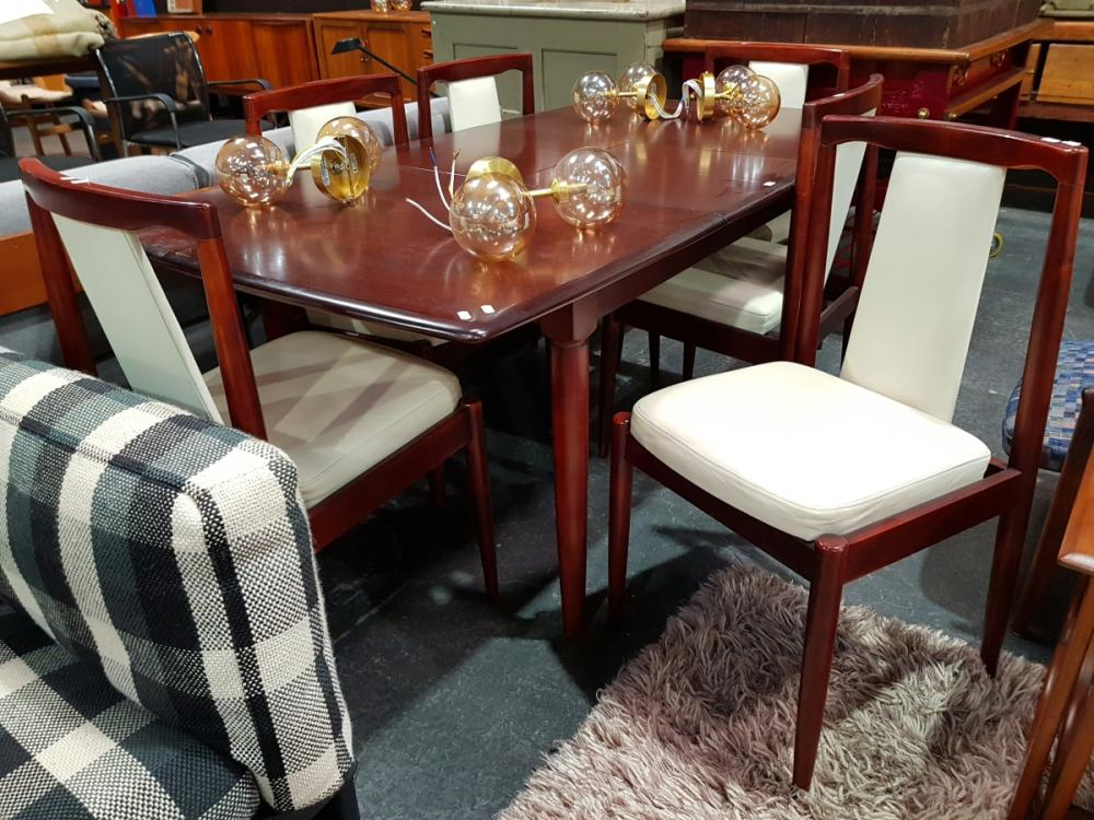 Teak 7 Piece Dining Suite inc Table and 6 Leather Upholstered Chairs
