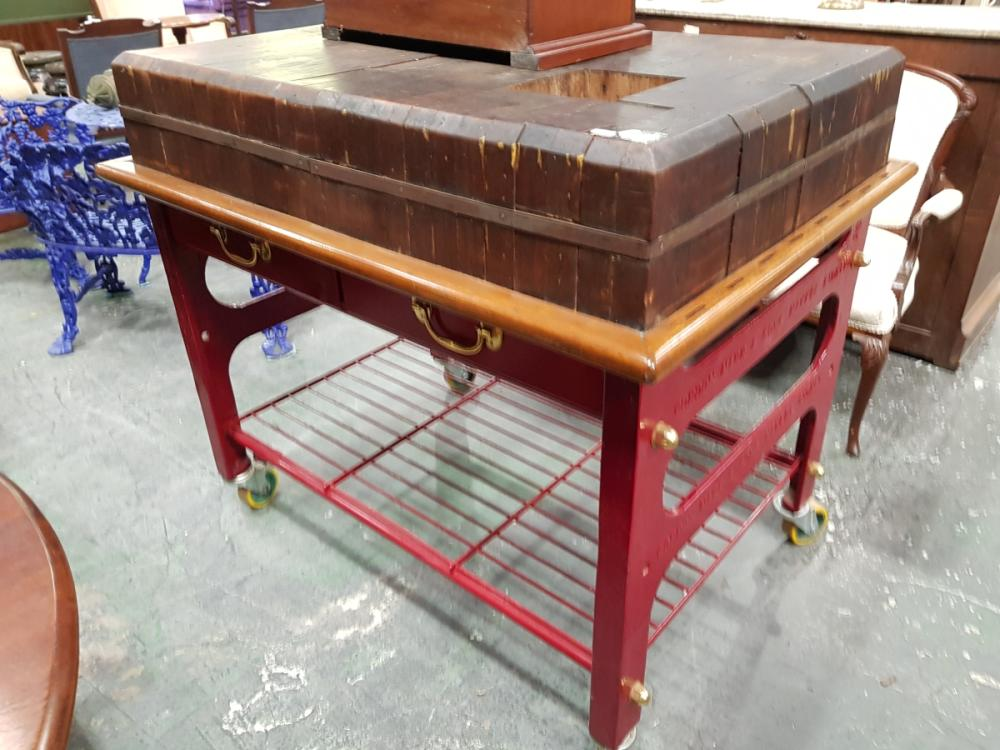 Gordon Marr & Sons Large Butchers Block on Castors ex. Salvation Army Soup Kitchen, Circa 1900
