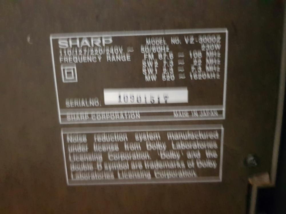 Lot 1026: Sharp VZ-3000Z Upright Record Player and Speakers