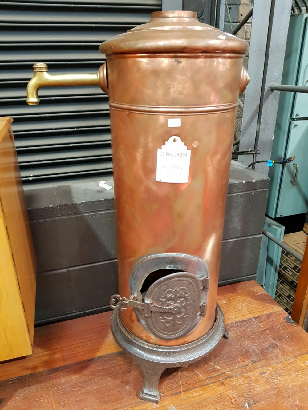 Vintage Le Precurseur Copper and Brass Hot Water Heater