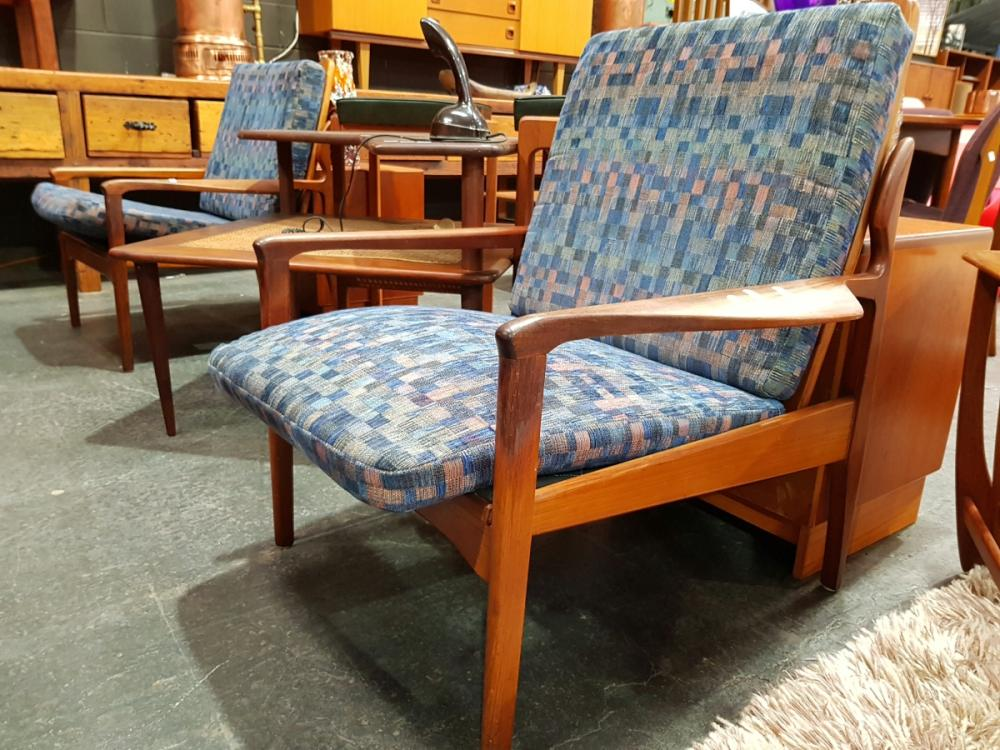 Pair Of Vintage Teak Framed Armchairs with Upholstered Cushions