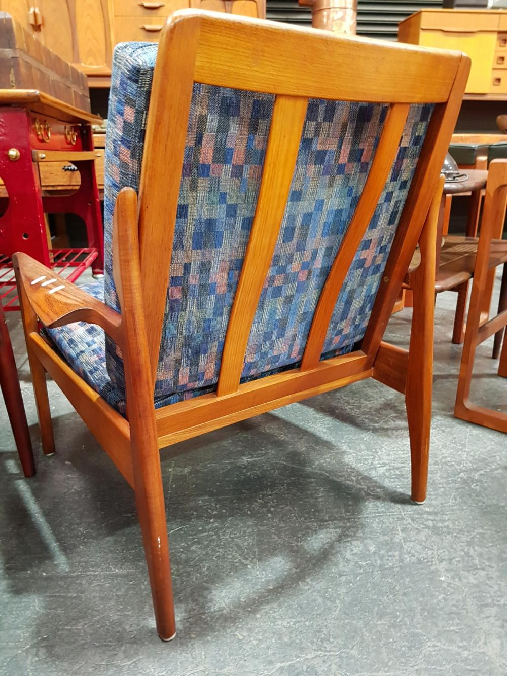 Lot 1030: Pair Of Vintage Teak Framed Armchairs with Upholstered Cushions