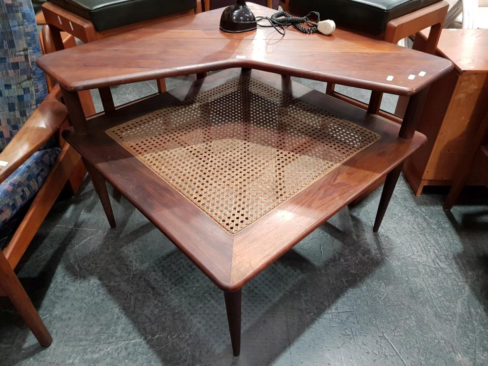 Teak Corner Coffee Table with Rattan Shelf