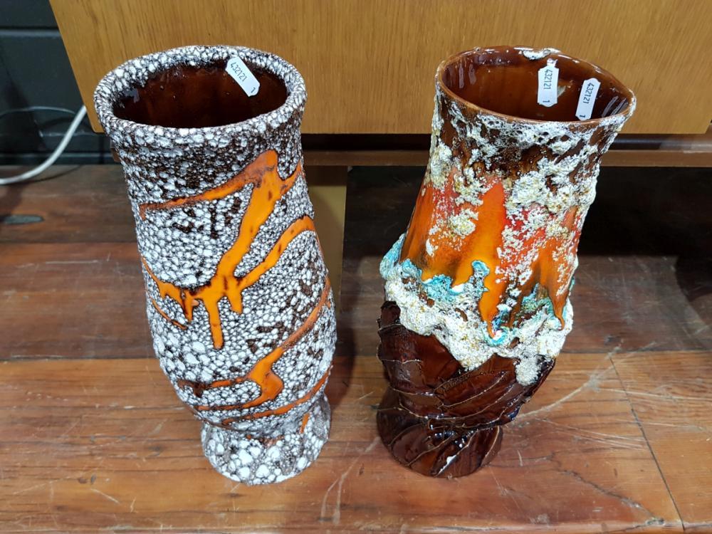 Lot 1038: Pair of Glazed Italian Vases