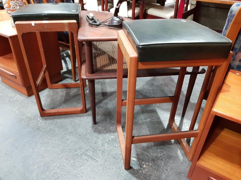 Pair of Vintage Parker Barstools with Black Leather Seats