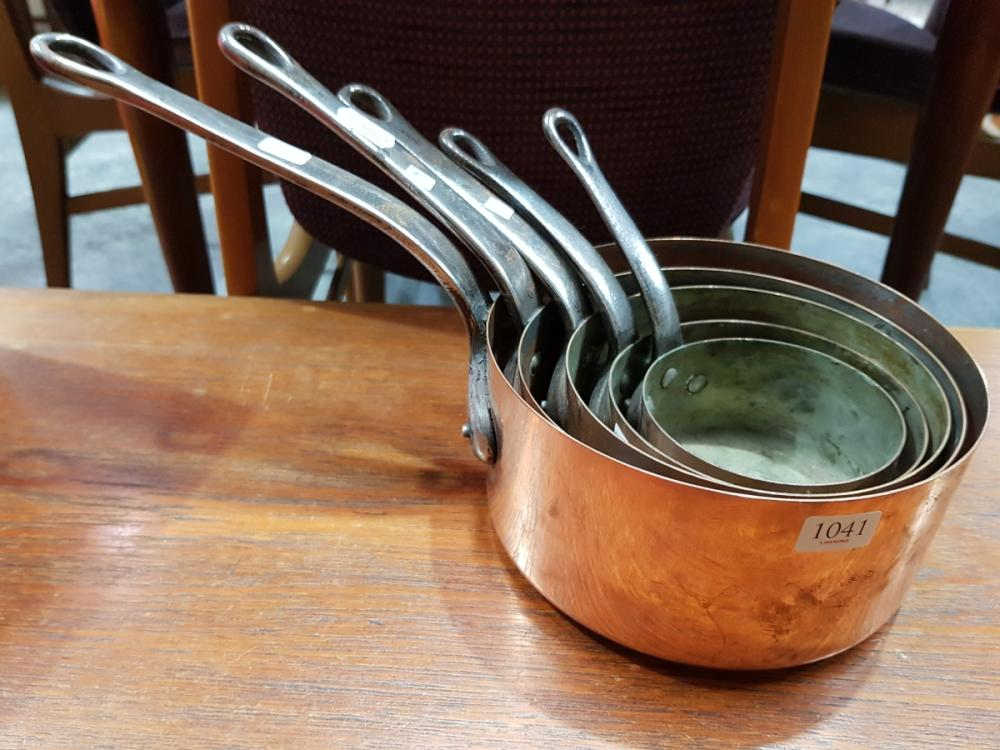 Lot 1041: Set of 5 French Copper Saucepans D: 18.5cm (largest)
