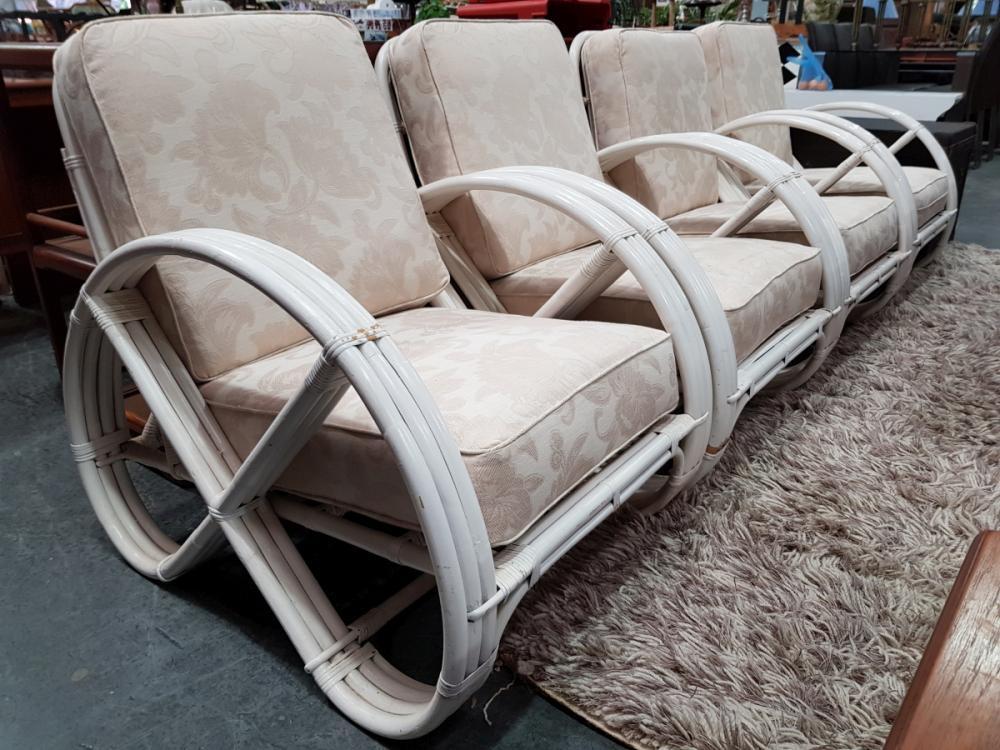 Set of 4 Vintage Painted Pretzel Cane Armchairs