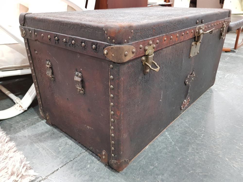 Vintage Louis Vuitton Trunk with Brass Buttoned Edging and Upholstered Interior