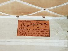 Lot 1047: Vintage Louis Vuitton Trunk with Brass Buttoned Edging and Upholstered Interior