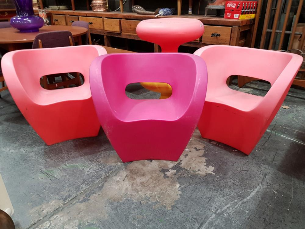 Lot 1052: Set of 3 Little Albert Chairs by Ron Arad in Red